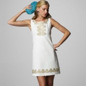 Lily Pulitzer White & Gold Adelson Dress Size 4